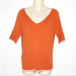 Ann Taylor | Orange Ribbed V Neck